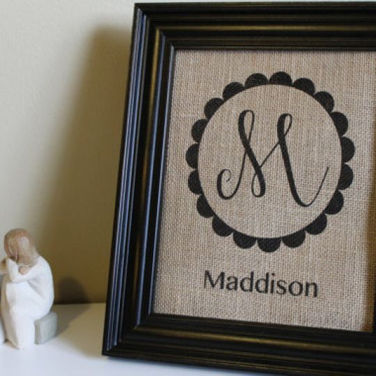 Personalized Family Initial Burlap Prints