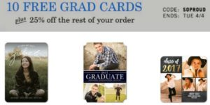 10 FREE Graduation Announcements or Invitations! (PLUS, 25% OFF Entire Graduation Order)