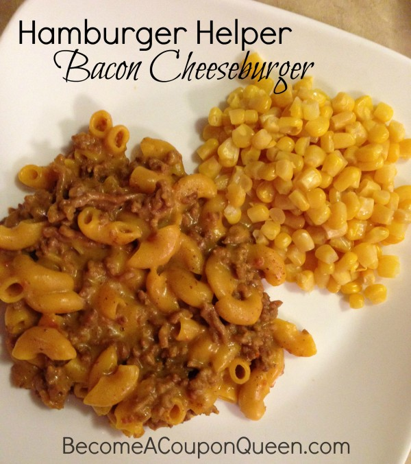 hamburger helper bacon cheeseburger with corn
