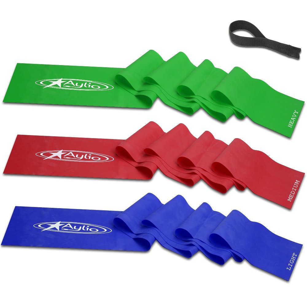Aylio Set Of 3 Flat Exercise Stretch Bands And Door Anchor