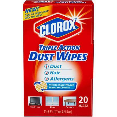 clorox triple action dust wipes