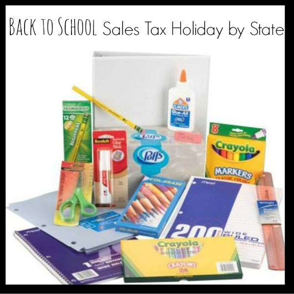 Back to School Sales Tax Holiday by State