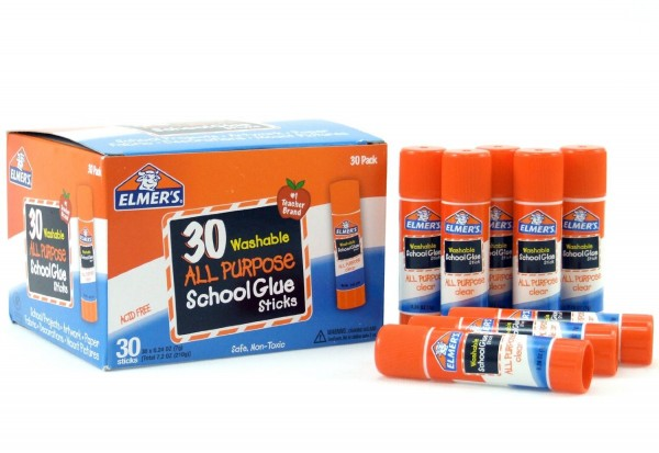 Elmer's Washable All-Purpose School Glue Sticks, 0.24 oz, Pack of 30