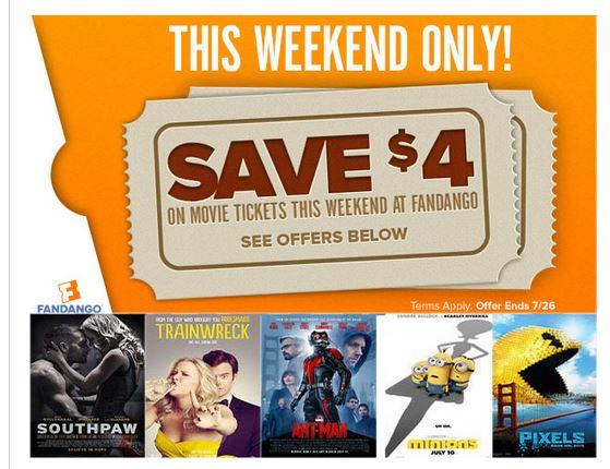Fandango movie coupons discounts