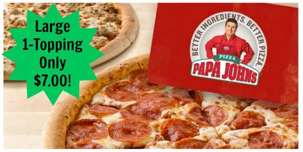 papa johns large 1-topping $4