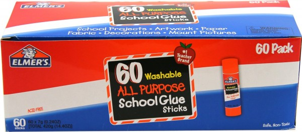 Elmer's Washable All-Purpose School Glue Sticks 60-Pack