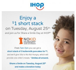 $1 Buttermilk Pancakes Short Stack at IHOP on August 25!