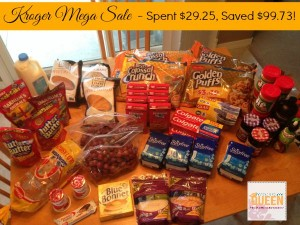 Kroger Mega Sale – Spent $29.25, Save $99.73!