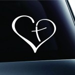 Heart with Cross in Center Car Decal Sticker Only $1.75 Shipped!