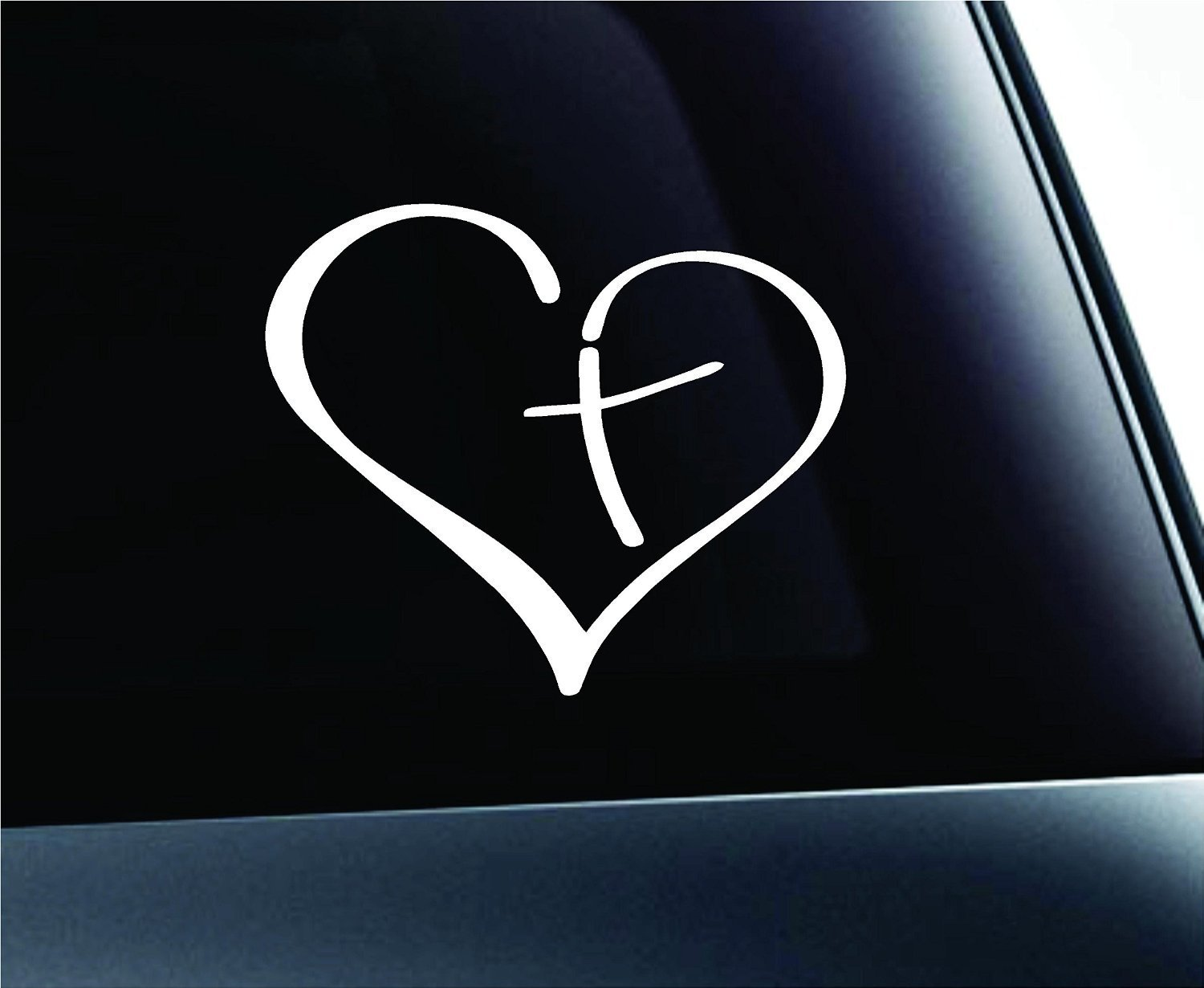 Heart With Cross In Center Car Decal Sticker Only 2 50