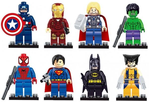 Set Of 8 Super Hero Lego Compatible Mini Figures