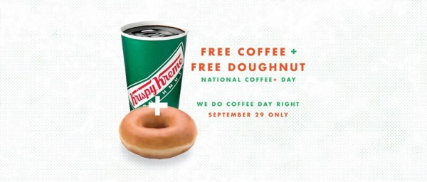 krispy kreme free coffee and doughnut