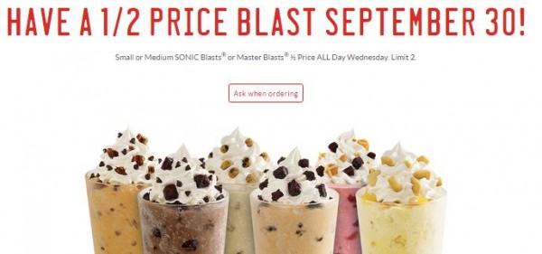 sonic half price blasts