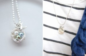 Mama Bird Personalized Nest Necklace Only $9.99!