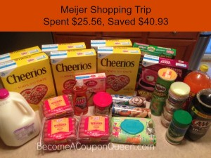 Meijer Shopping Trip: Spent $25.56, Saved $40.93!