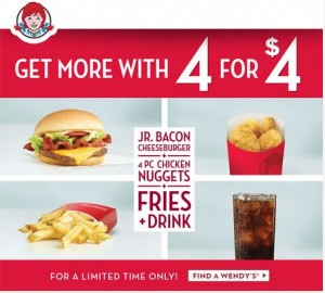 Wendy's 4 for $4 Deal – Burger, Nuggets, Fries and a Drink!