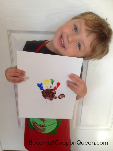 Fingerpaint handprint turkey with colin