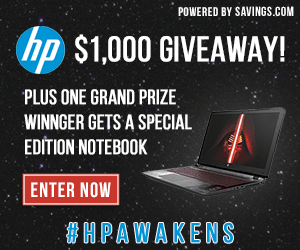 Enter to Win a Star Wars Special Edition Notebook from HP ($699 value) and $100 HP Gift Card! (10 winners) #HPAwakens