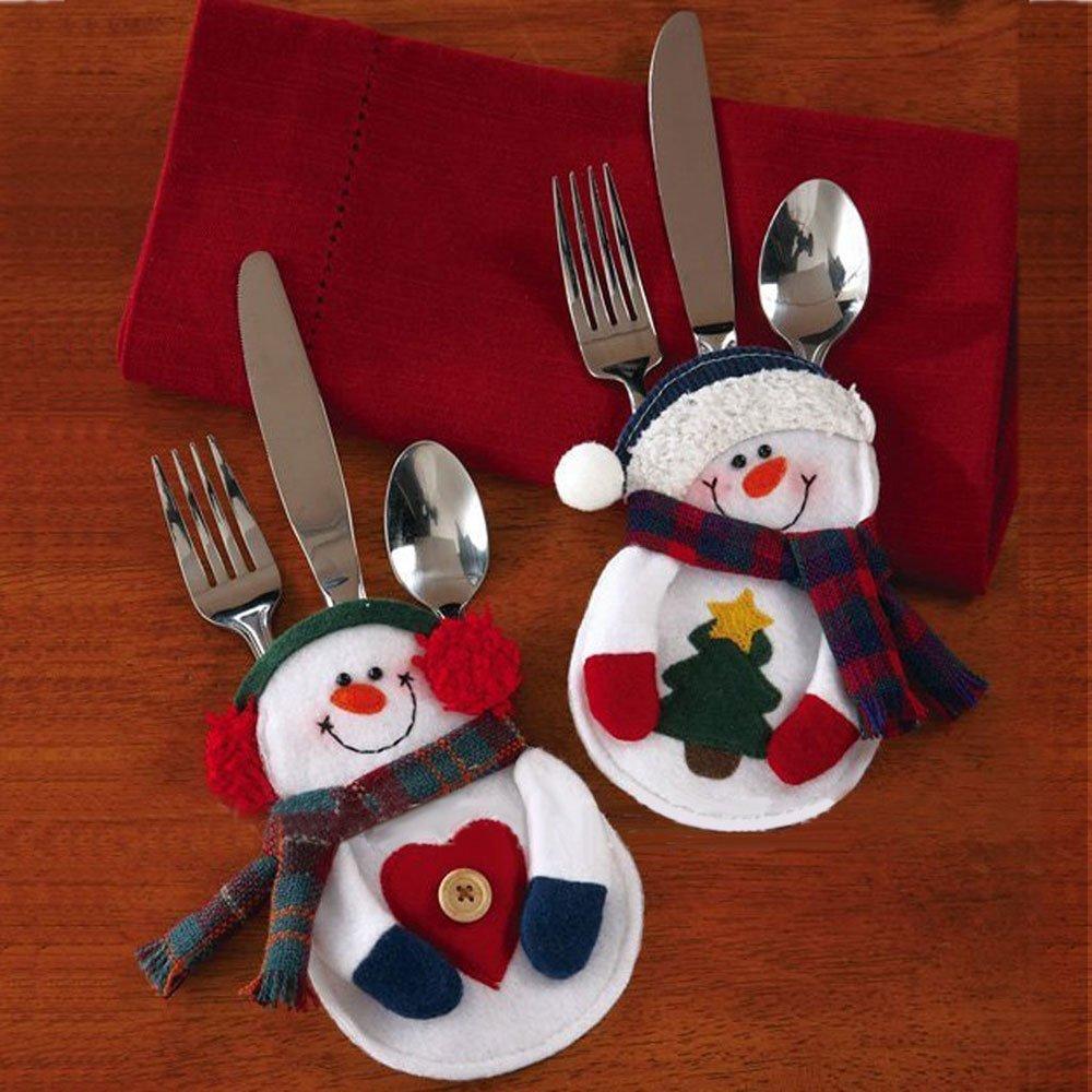 Snowman silverware holder set only shipped become - Decoracion mesa de navidad ...