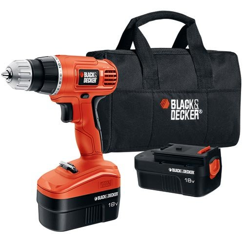 Black & Decker 18-Volt NiCad 3-8-Inch Cordless Drill-Driver with 2 Batteries and Storage Bag