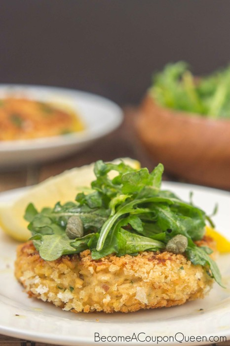 Salmon Cakes with Lemon Caper Arugula Salad 1