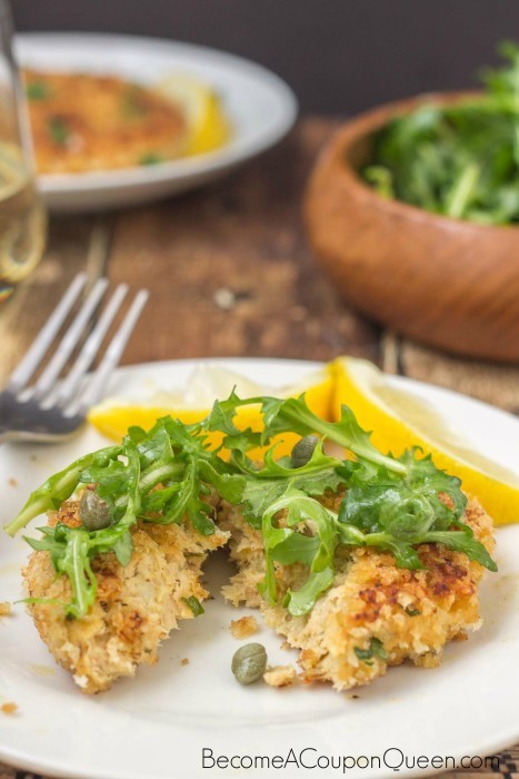 Salmon Cakes with Lemon Caper Arugula Salad 2