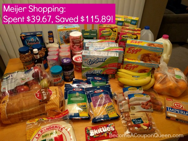 Meijer Shopping Trip: Spent $39.67, Saved $115.89!