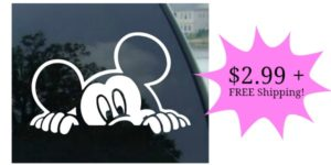 Peeking Mickey Mouse Window Decal Only $2.99 + FREE Shipping!