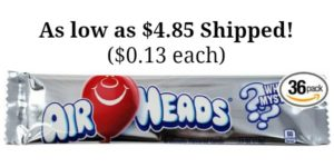 Airheads Bars, 36 count as low as $4.85 Shipped! ($0.13 each)