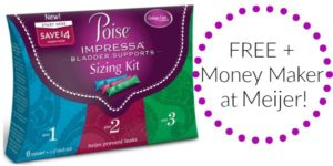 FREE Poise Impressa Bladder Supports Sizing Kit at Meijer!
