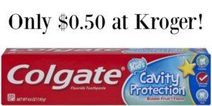 Kroger: Colgate Kids Toothpaste Only $0.50!