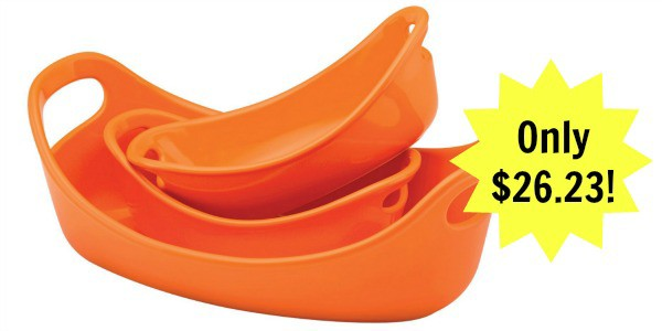 Rachael Ray Stoneware 3-Piece Small Oval Set Bubble & Brown, Orange