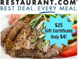 $25 Restaurant.com Gift Certificate – Only $4.00!