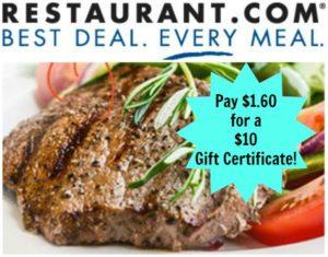 $10 Restaurant.com Gift Certificate Only $1.60!