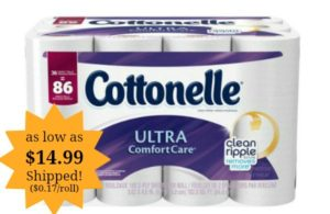 Cottonelle Ultra ComfortCare Family Roll Toilet Paper Bath Tissue as low as $0.17 per roll Shipped!