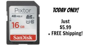 SanDisk Pixtor 16GB SDHC UHS-I Class 10 Memory Card Only $5.99 + FREE Shipping!