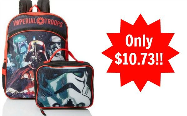 Star Wars Boys' Disney Red 16 Inch Backpack with Lunch Bag