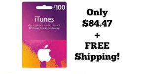 $100 iTunes Gift Card Only $84.47 + FREE Shipping!