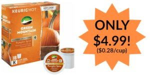 Green Mountain Pumpkin Spice K-Cups 18-Pack Only $4.99! ($0.28/k-cup)