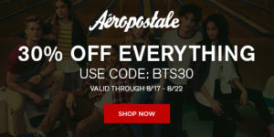 Save 30% Sitewide at Aeropostale + Gift Card Giveaway! #AeroBTS16