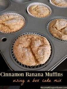 Cinnamon Banana Muffins Using a Box Cake Mix!