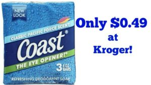 Coast Bar Soap 3-count Only $0.49 at Kroger!
