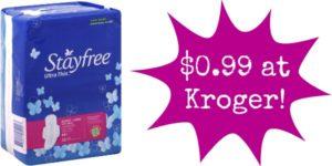 Kroger: Stayfree Pads Only $0.99!