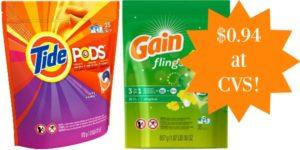 CVS: Tide Pods or Gain Flings Only $0.94!