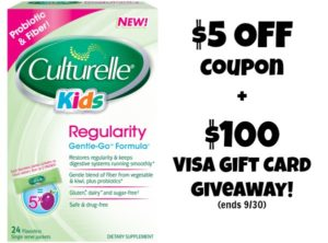 $5 Culturelle Kids Regularity Coupon + $100 Visa Gift Card Giveaway! (ends 9/30)
