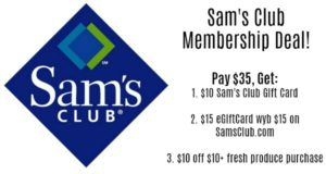 Sam's Club Membership Only $35 + FREE Gift Cards ($25) + FREE Produce ($10)!