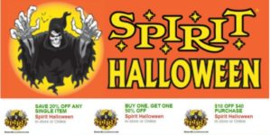 Spirit Halloween Coupons – B1G1 50% OFF, $10/$40 Purchase, and 20% OFF One Item!
