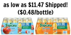 Tropicana Orange Juice or Apple Juice 24 Bottles as low as $11.47 Shipped! ($0.48/bottle)