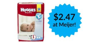 Meijer: Huggies Snug & Dry Diapers Only $2.47!