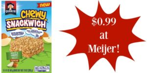 Meijer: Quaker Chewy Snackwiches Only $0.99!
